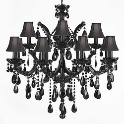 JET BLACK CHANDELIER CRYSTAL LIGHTING CHANDELIERS WITH BLACK SHADES $535.02