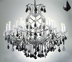 New MARIA THERESA CHANDELIER CRYSTAL LIGHTING H38quot; x W37quot; W JET BLACK CRYSTAL $659.19