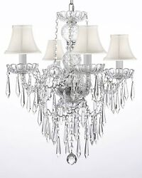 New! Authentic All Crystal Chandelier W Crystal Icicles! And - With Shades!
