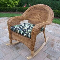 Oakland Living 90031-R-BF-NT Resin Wicker Outdoor Rocker with Cushion (2 Pack)