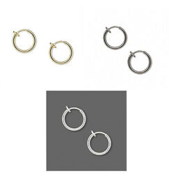 Pierced Look Clip on Hoop Earrings 12 inch With Snug Fit Spring Closure