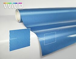 Blue 3 layer carbon fiber gloss tech art 50ft x 5ft laminated vinyl car wrap DIY
