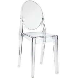 Acrylic Chair Transparent Lucite Armless Dining Side Chair Modern Plastic CLEAR