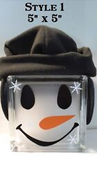 Assorted Snowman Face Christmas Decal sticker for DIY glass block shadow box