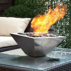 Contemporary Indoor Outdoor Portable Fireplace Stainless Steel Table Top Heater