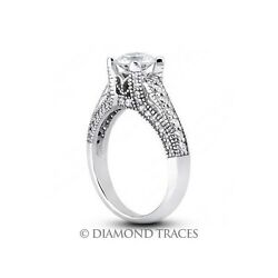1.76ctw H-SI2 VG Round AGI Genuine Diamonds 18k Gold Milgrain Accents Ring 5.3mm