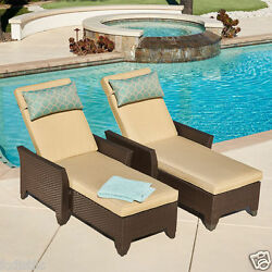 2 (Two) Avalon Bay Chaise Loungers by Mission Hills Adjustable Reclining Lounge