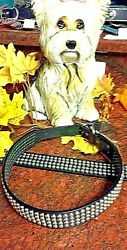 Black leather dog collars with 4 rows of studs MADE IN USA $55.99