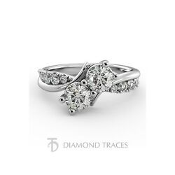 2.51ctw F-SI2 Ideal Round Genuine Diamonds 14k Curved Shank Two-Stone Ring 2.9mm