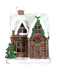 LED Light Up Log Cabin Christmas Holiday Village Cottage Classic Decor Snow