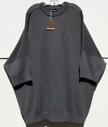 "NWT Eskandar MID GRAY Heavy Weight Cashmere 34 Sleeve 34"" Long Sweater $2195"