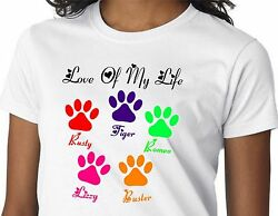 Personalized DOG CAT PET Pet Names Paws Mommy Mom Mother Grandma Grammy T Shirt $23.50