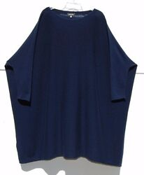 "NEW Eskandar NAVY Cashmere Side Ways Knit Extra Wide 38"" Long Tunic Swtr $2145"