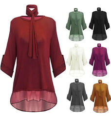 Womens Ladies Knitted Scarf Long Sleeves Chiffon Oversized HiLo Baggy Jumper Top