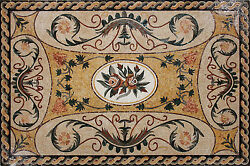 Marvelous Flowery Carpet Art Tiles Stones Marble Mosaic CR1153