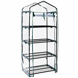 VonHaus 4 Tier Portable Mini Greenhouse with Clear PVC Cover - 63 x 28 x 20