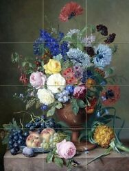 mixed flowers and fruit Tile Mural Kitchen Bathroom Backsplash Marble Ceramic