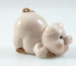 Ceramic Pig Figurine Pink Handpainted approx 1.7quot; long 1.3quot; tall crouching $8.99