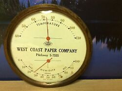 Extremely rare vtg west coast paper co. Thermometer parkway 5-7555 butler brand