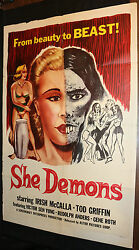 She-Demons Horror Movie Poster - From Beauty to Beast! - (C-6) 1958