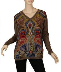 NEW ETRO MILANO CHIC PAISLEY LANA WOOL COTTON STRETCH V NECK SWEATER 4410