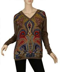 NEW ETRO MILANO CHIC PAISLEY LANA WOOL COTTON STRETCH V NECK SWEATER 428