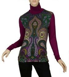 NEW ETRO MILANO CHIC PAISLEY LANA WOOL COTTON STRETCH TURTLENECK SWEATER 406