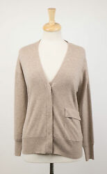 NWT BRUNELLO CUCINELLI Woman's Brown Cashmere Cardigan Sweater Size M $2400