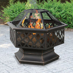 Hex Shaped Fire Pit Outdoor Home Garden Backyard Firepit Bowl Fireplace Log Wood