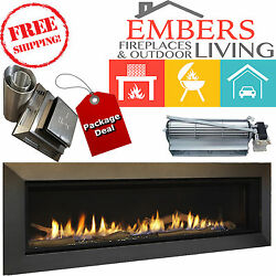 Majestic Echelon ll Direct-Vent Linear Fireplace 60-inch Complete PACKAGE DEAL