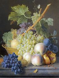 GRAPES PEACHES fruit basket J. Dael Tile Mural Wall Backsplash Marble Ceramic