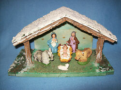 Vintage MADE IN ITALY 6 Figure CHALKWARE NATIVITY SET in RUSTIC WOODEN STABLE
