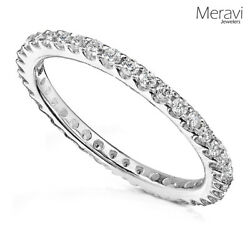 NEW Women Sterling Silver Wedding Band Anniversary Thin CZ Skinny Ring Size 4-10