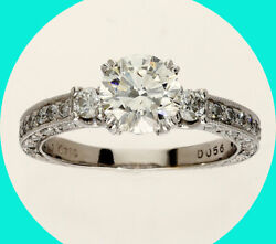 EGL diamond engagement ring 18K white gold 1.51CT center round brilliant 2.07CTW