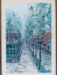 Old Pastel Gouache Painting signed  HALL Mid Century STREET WROUGHT IRON FENCE