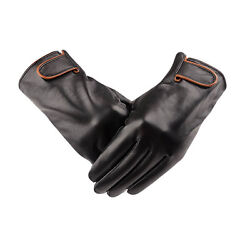 Luxury Mens Winter 100% Genuine Leather Gloves Cashmere Lined