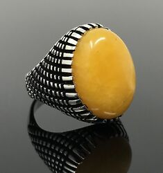 925k Solid Sterling Silver Yemeni Agate Aqeeq Men#x27;s Ring US Seller P3A $44.99