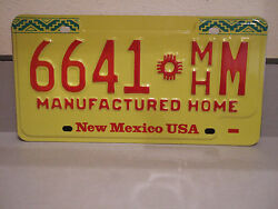 NEW UN-ISSUED NEW MEXICO MANUFACTURED HOME LICENSE PLATE - 6641 ZIA SYMBOL MHM