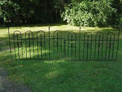 80+ feet wrought iron look steel fencing w gate and stakes decorative