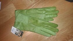 Luxury genuine leather gloves green with cashmere NWT