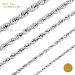 White Gold Color Stainless Steel Rope Chain Necklace 2mm to 8mm