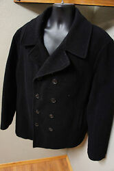 Calvin Klein Mens L Black Wool Quilt Insulated Wool Coat LOW USE           o14