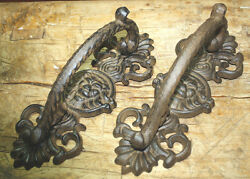 2 HUGE Cast Iron Antique Style LION HEAD Barn Handle Gate Pull Door Handles $24.99