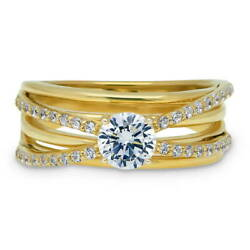 BERRICLE Gold Plated Round CZ Criss Cross Solitaire Engagement Ring 1 CTW