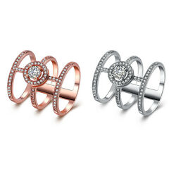 Rose Gold Platinum Plated Fashion Ring AAA Zirconia Women knuckle B305