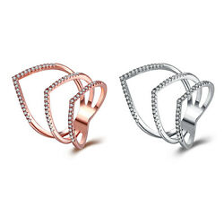 Rose Gold Platinum  Plated Fashion Ring AAA Zirconia Women knuckle B312