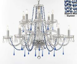 "AUTHENTIC ALL CRYSTAL CHANDELIER WITH SAPPHIRE BLUE CRYSTALS! H32"" W27"""