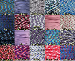 Paracord 550 Purple Blues and Pinks 10 25 50 100 Feet Survival Outdoor
