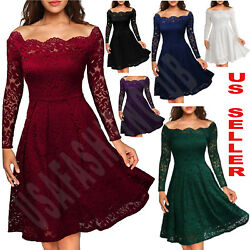 Women#x27;s Vintage Lace Boat Neck Formal Wedding Cocktail Evening Party Swing Dress $23.55