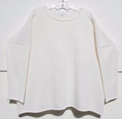NEW Eskandar OFF WHITE Light Weight Cashmere Bateau Neck Sweater OS $1450